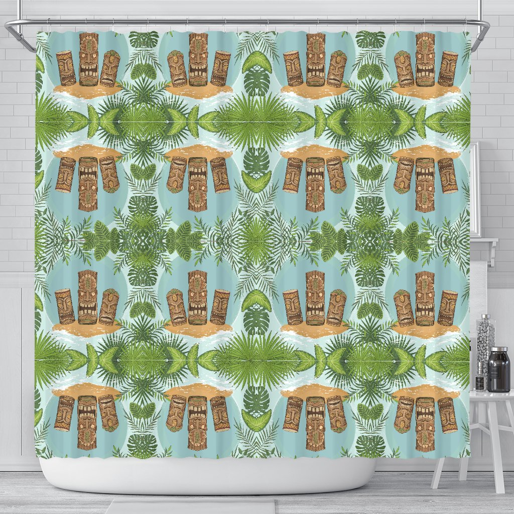 Tiki Wood Island Shower Curtain