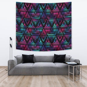 Tribal aztec Dark Multicolor Wall Tapestry