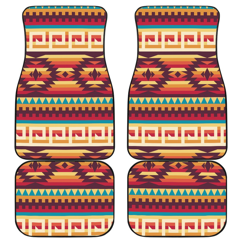 Tribal Aztec Vintage Front and Back Car Floor Mats