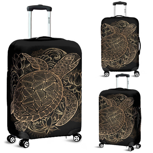 Tribal Gold Sea Turtle Hawaiian Luggage Cover Protector