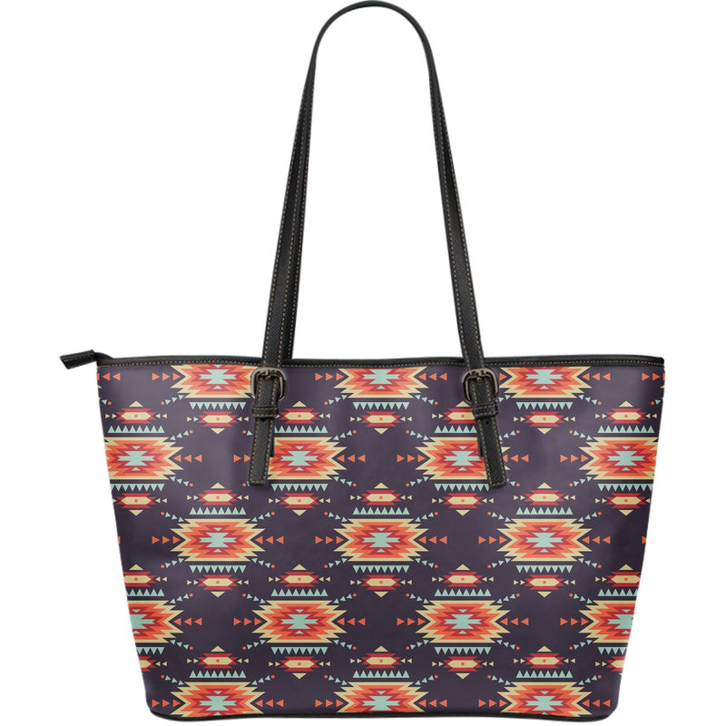 Tribal indians Aztec Large Leather Tote Bag