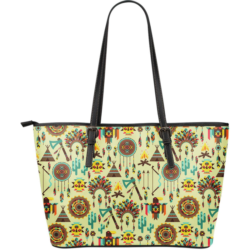 Tribal indians native american aztec Large Leather Tote Bag