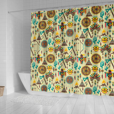 Tribal indians native american aztec Shower Curtain