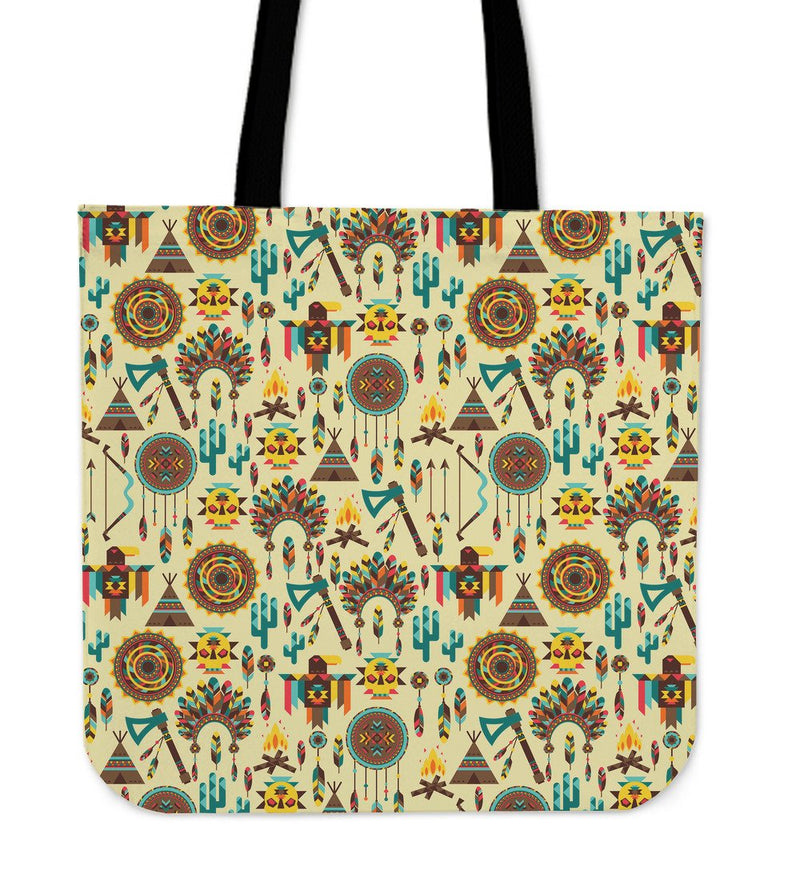 Tribal Indians Native American Aztec Tote Bags