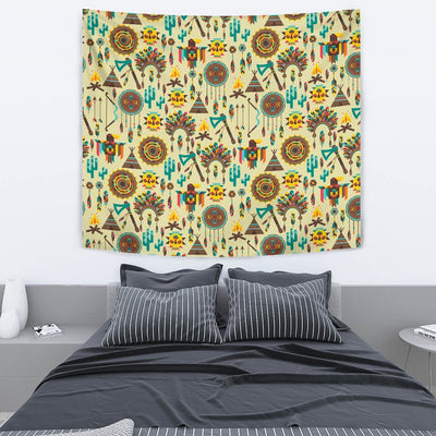 Tribal indians native american aztec Wall Tapestry