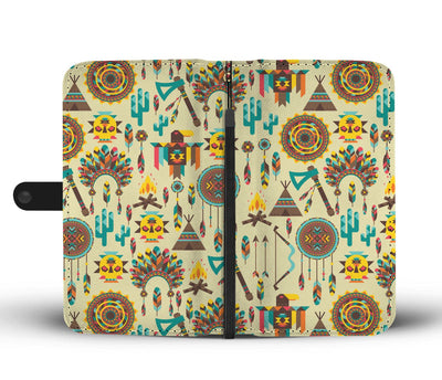 Tribal indians native american aztec Wallet Phone case