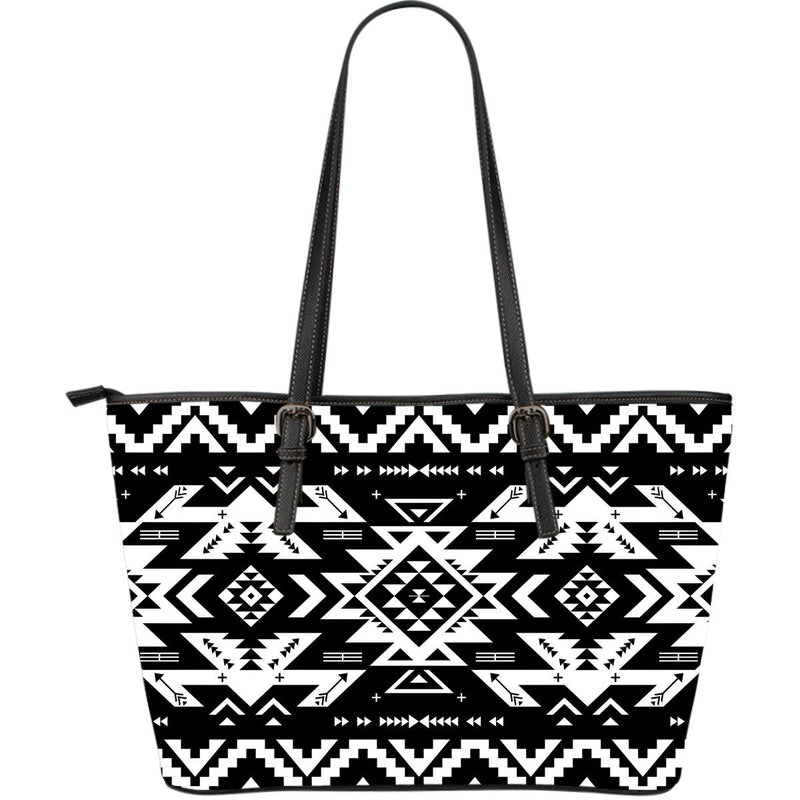Tribal indians native aztec Large Leather Tote Bag