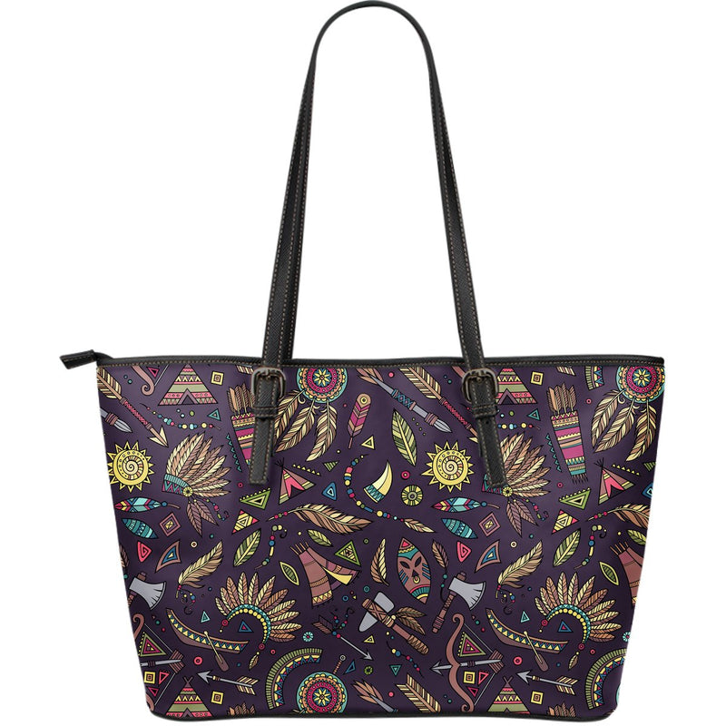 Tribal native american Aztec Large Leather Tote Bag