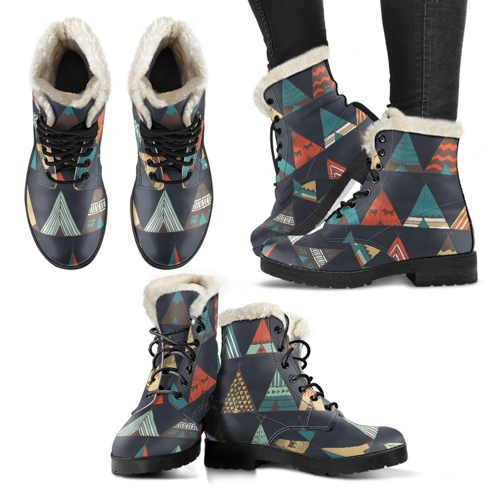 Tribal Native American Tent Aztec Faux Fur Leather Boots