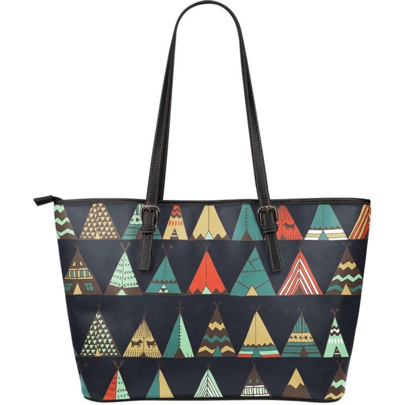 Tribal native american tent Aztec Large Leather Tote Bag
