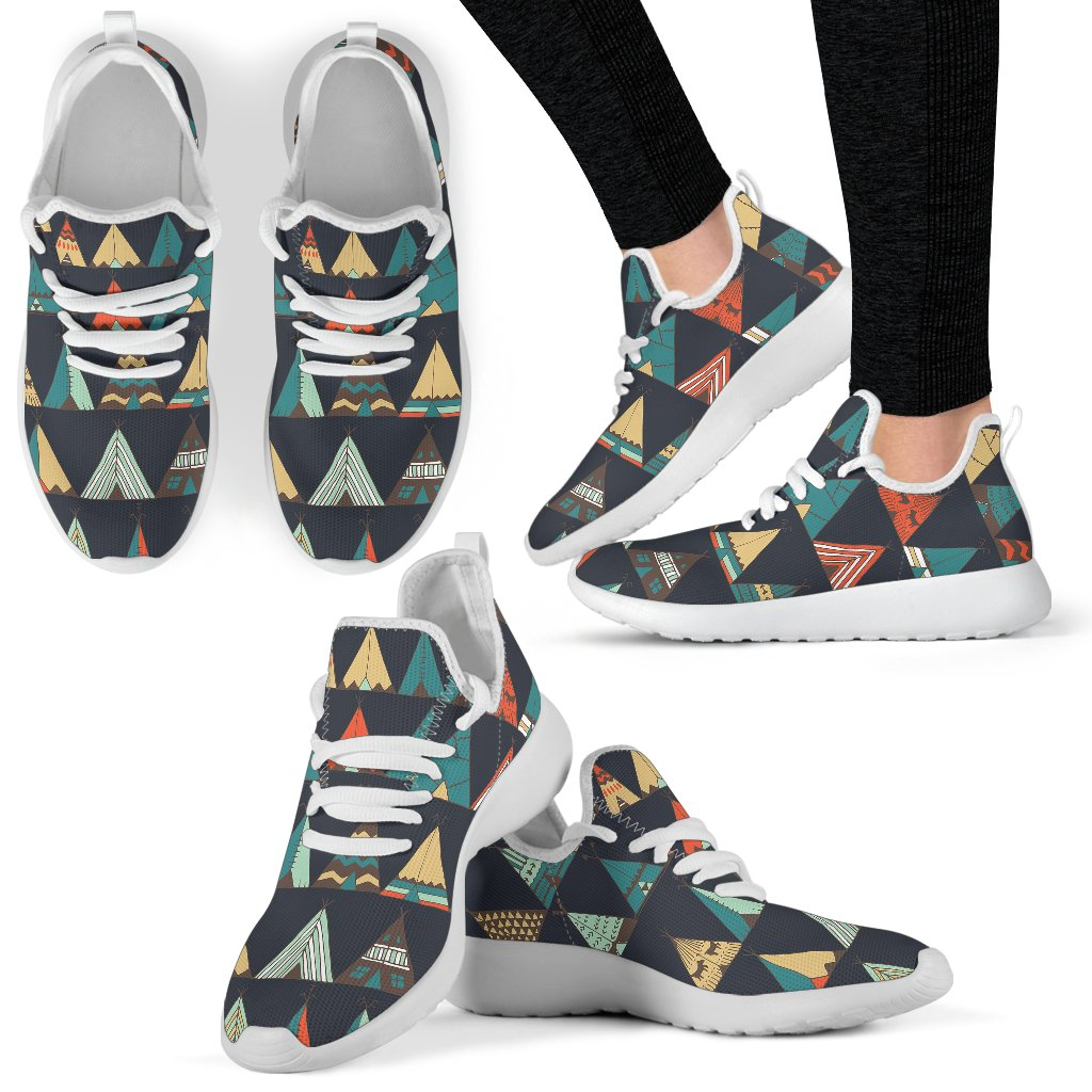Tribal Native American Tent Aztec Mesh Knit Sneakers Shoes