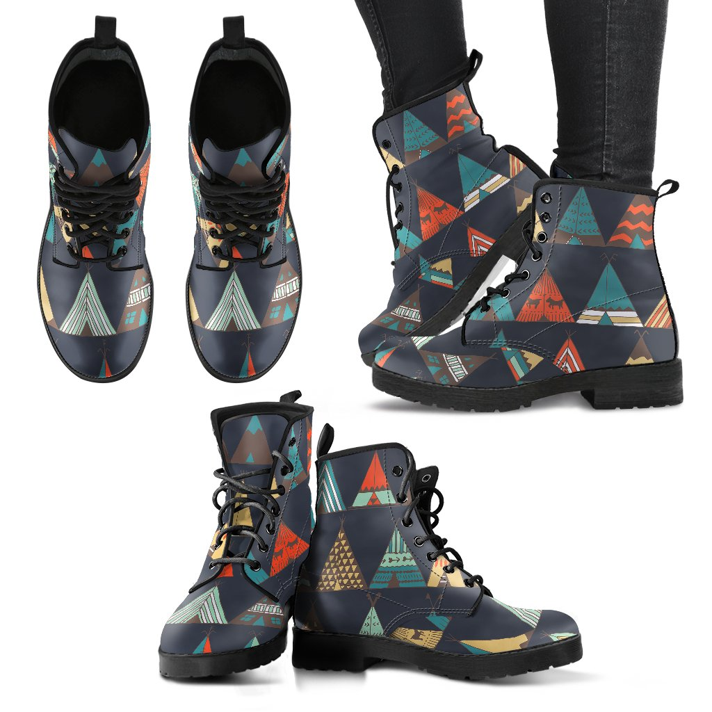 Tribal Native American Tent Aztec Women Leather Boots