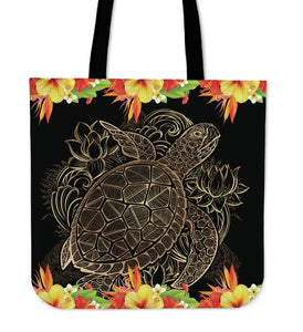 Tribal Sea turtle Hawaiian Hibiscus Tote Bags