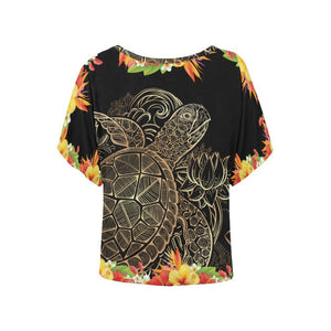 Tribal Sea turtle Hawaiian Women Batwing Tops Shirt