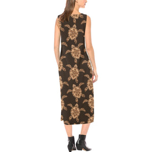 Tribal Sea Turtle Pattern Print Design T09 Sleeveless Open Fork Long Dress