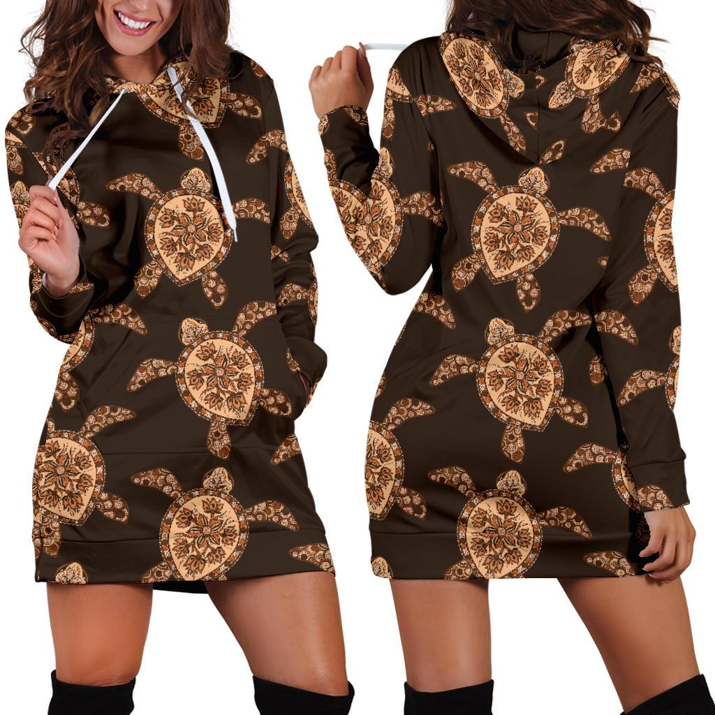 Tribal Sea Turtle Pattern Print Design T09 Women Hoodie Dress