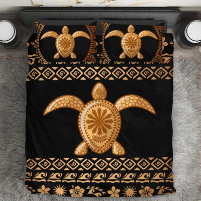 Tribal Sea turtle Polynesian Hawaiian Duvet Cover Bedding Set