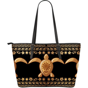 Tribal Sea turtle Polynesian Hawaiian Large Leather Tote Bag