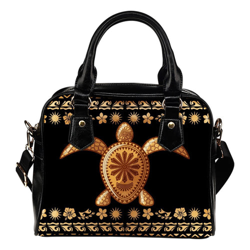 Tribal Sea turtle Polynesian Hawaiian Leather Shoulder Handbag