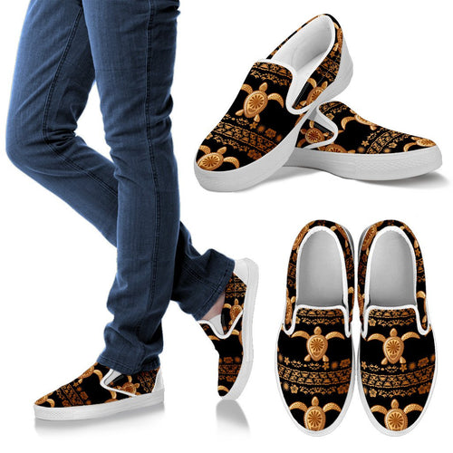 Tribal Sea Turtle Polynesian Hawaiian Men Slip On Shoes