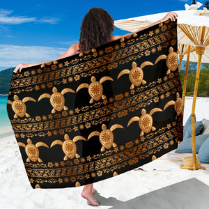 Tribal Sea Turtle Polynesian Hawaiian Sarong Pareo Wrap