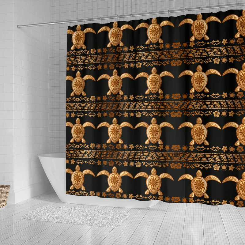 Tribal Sea Turtle Polynesian Hawaiian Shower Curtain