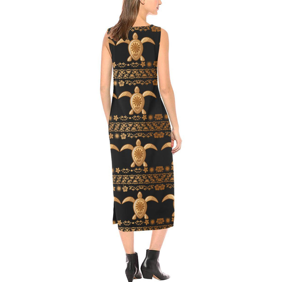 Tribal Sea turtle Polynesian Hawaiian Sleeveless Open Fork Long Dress