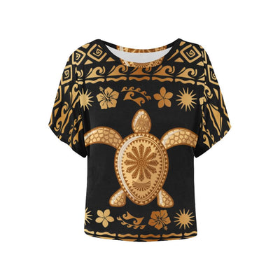 Tribal Sea turtle Polynesian Hawaiian Women Batwing Tops Shirt