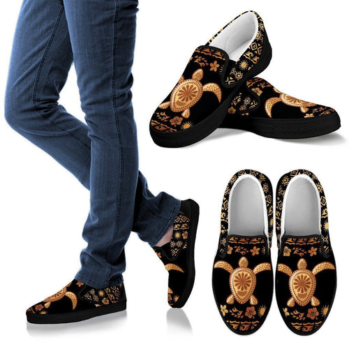 Tribal Sea turtle Polynesian Hawaiian Women Canvas Slip On Shoes
