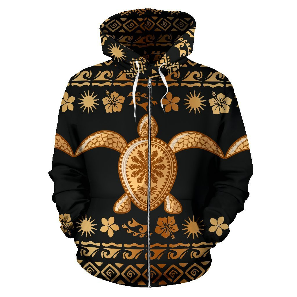 Tribal Sea turtle Polynesian Hawaiian Women Men Zip Up Hoodie