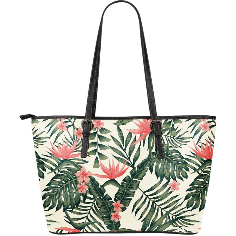 Tropical Flower Palm Leaves Large Leather Tote Bag