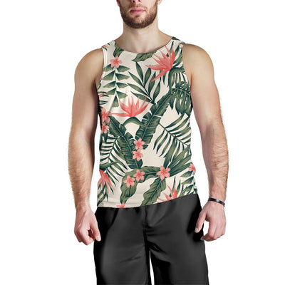 Tropical Flower Palm Leaves Men Tank Top