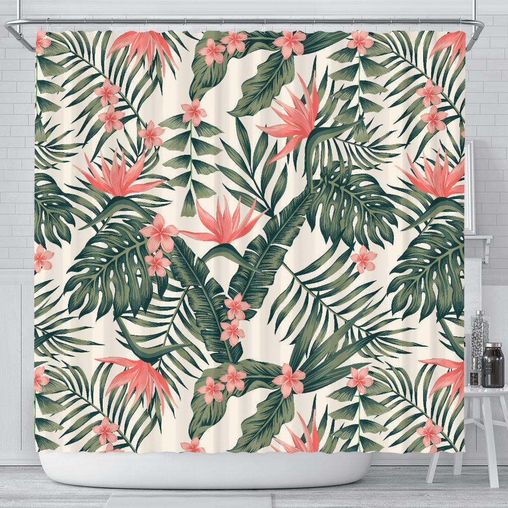 Tropical Flower Palm Leaves Shower Curtain