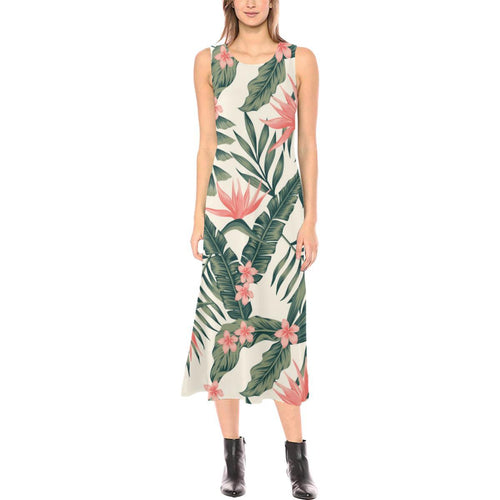 Tropical Flower Palm Leaves Sleeveless Open Fork Long Dress
