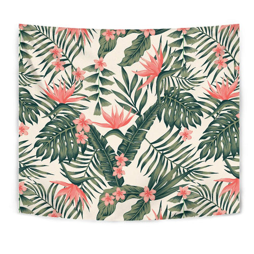 Tropical Flower Palm Leaves Tapestry