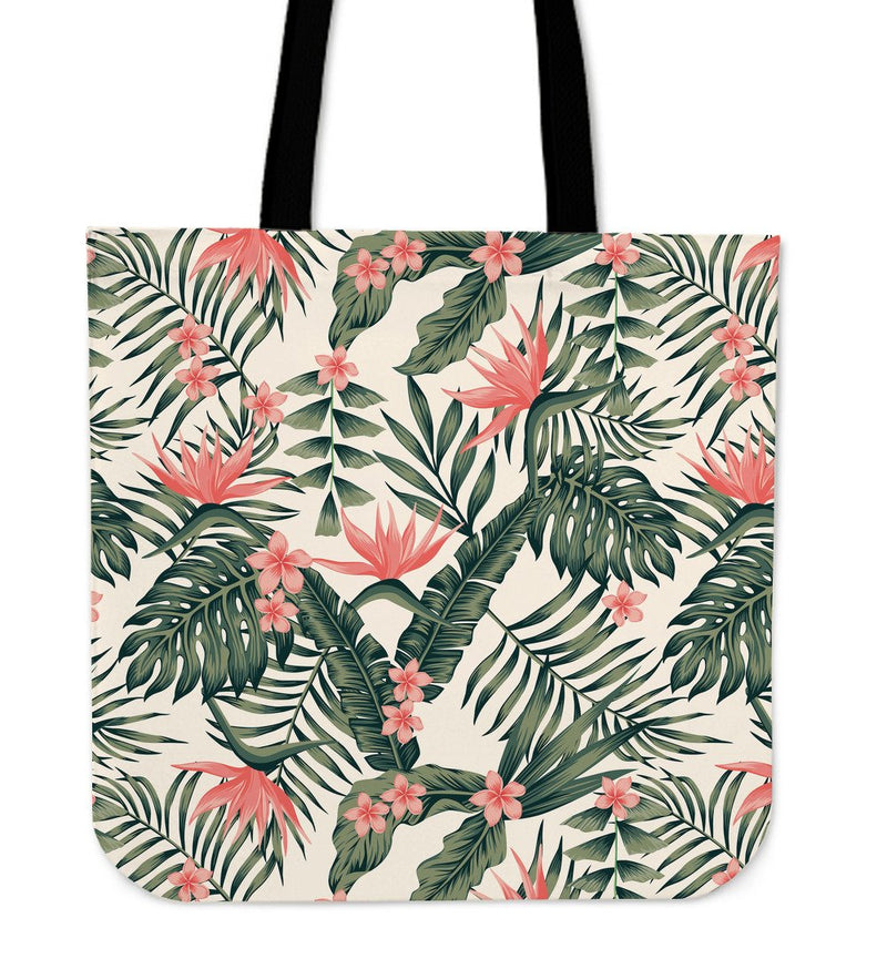 Tropical Flower Palm Leaves Tote Bags