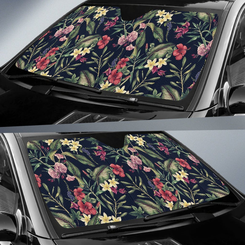 Tropical Flower Pattern Car Sun Shade-JorJune