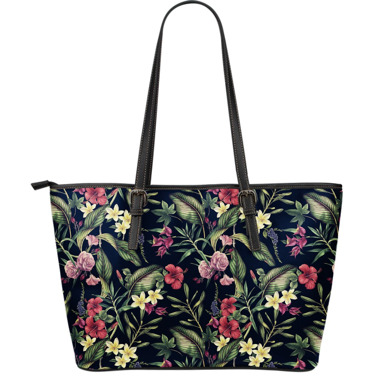 Tropical Flower Pattern Large Leather Tote Bag