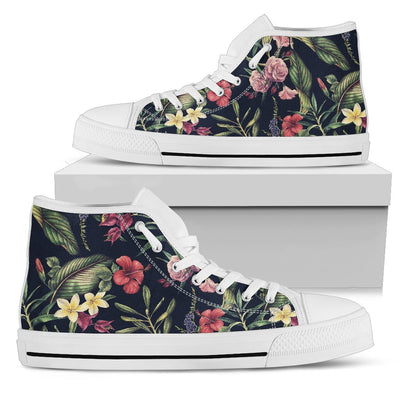 Tropical Flower Pattern Men High Top Shoes