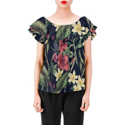 Tropical Flower Pattern Off Shoulder Ruffle Blouse