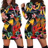 Tropical Flower Pattern Print Design TF015 Women Hoodie Dress