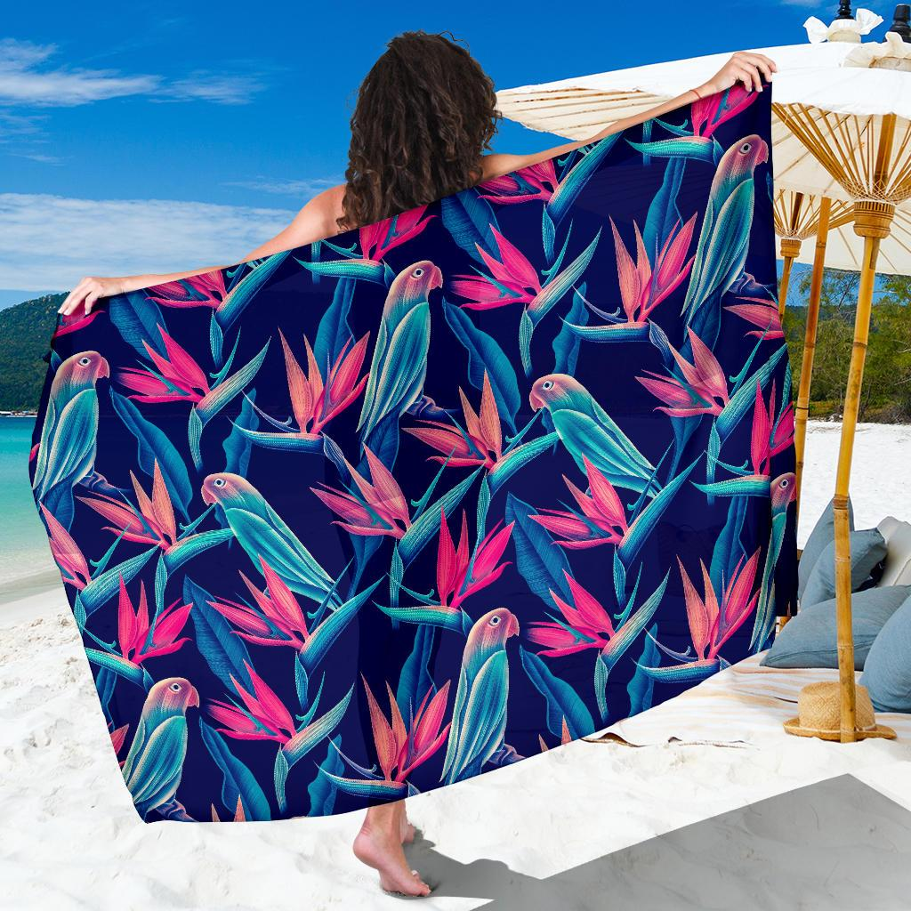 Tropical Flower Pattern Print Design TF024 Sarong Pareo Wrap-JORJUNE.COM