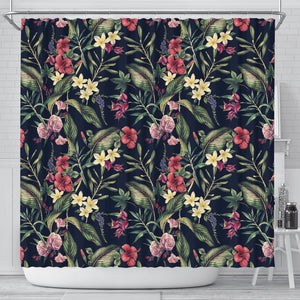 Tropical Flower Pattern Shower Curtain