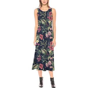 Tropical Flower Pattern Sleeveless Open Fork Long Dress