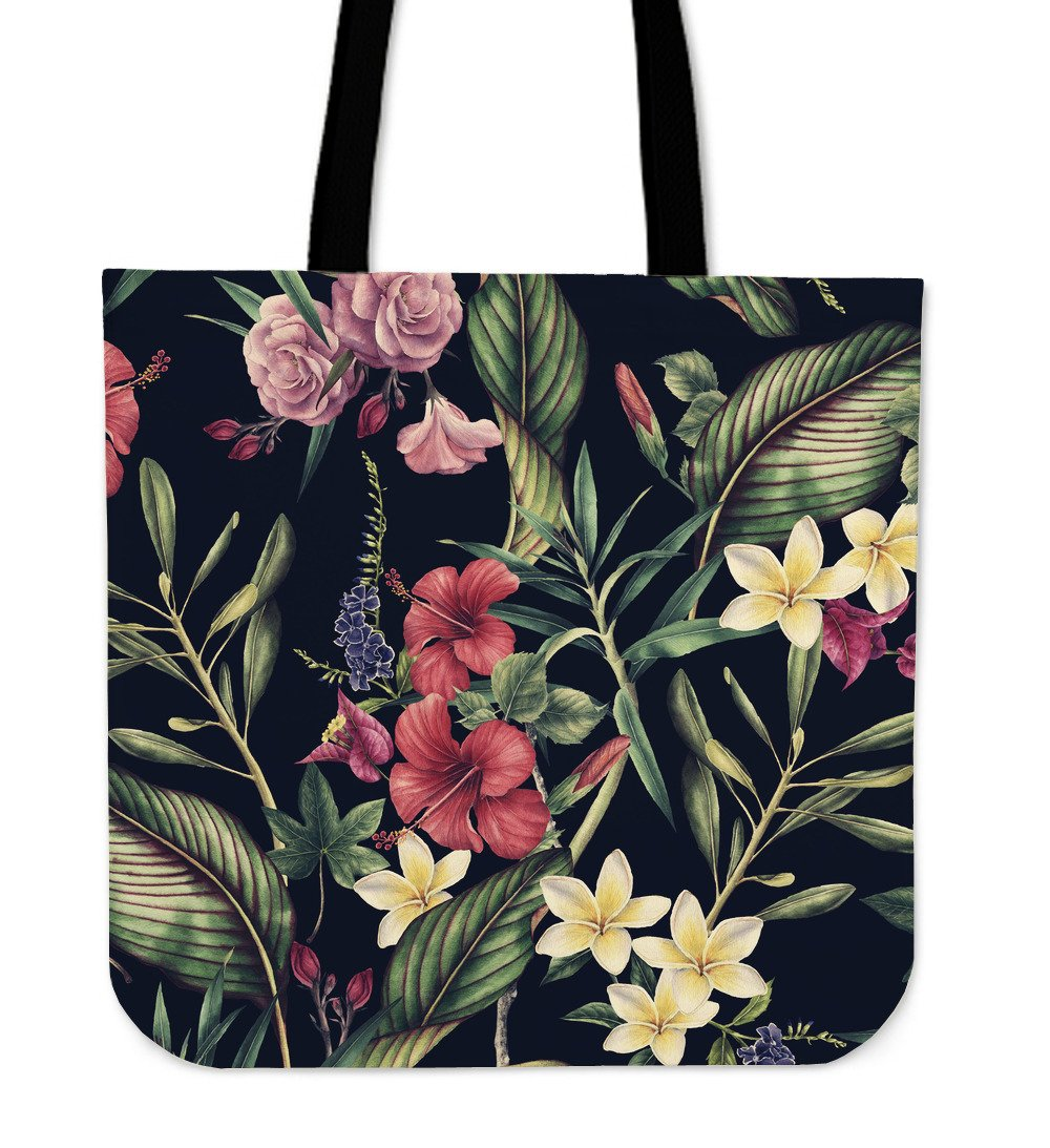 Tropical Flower Pattern Tote Bags