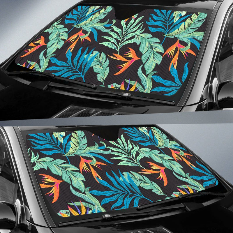 Tropical Palm Leaves Hawaiian Flower Car Sun Shade-JorJune