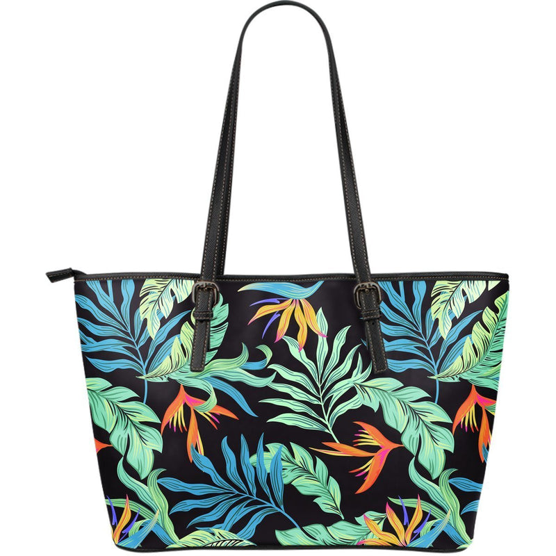 Tropical Palm Leaves Hawaiian Flower Large Leather Tote Bag