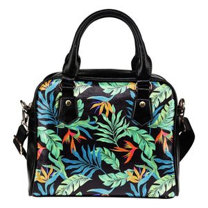 Tropical Palm Leaves Hawaiian Flower Leather Shoulder Handbag