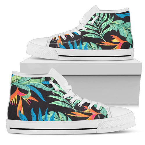 Tropical Palm Leaves Hawaiian Flower Men High Top Shoes