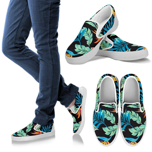 Tropical Palm Leaves Hawaiian Flower Men Slip On Shoes